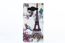 Hot Selling!!2015 Newest Design Eiffel Tower Leather Phone Case mobile phone flip case for samsung a5