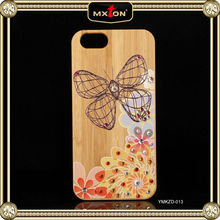 100% Warranty Diamont Setting Rose Wood Phone Case With Hourglass For Iphone 5 5S