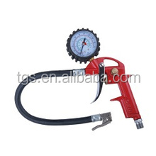 red color tire infating gun with brass tire chuck and tire gaue