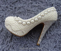 Luxury Pearl Beads Evening Prom Bridal Shoes 14 CM High Heel Wedding Shoes Stock