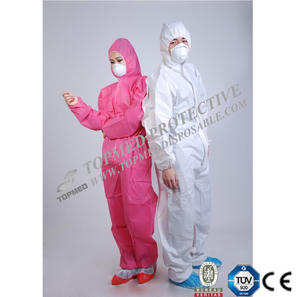 VENTE CHAUDE Jetable SMS PP Combinaison Costumes Non-Tissé Vêtements De Travail Combinaison De Protection