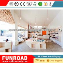 Diseño y alta decoracion de zapatería con exhibidor mostrador simple para zapatos MDF muebles para zapatería