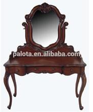 Tallado de madera dressor, mueblesdeldormitorio tocador con espejo, de la cómoda maquillaje clásico mesa de tocador con espejo