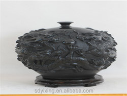 Restoring ancient ways of shandong longshan black ceramic vase arts and crafts , five dragons pot