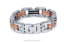 custom high quality stainless steel jewlery man two tone bracelet popular style hot sell