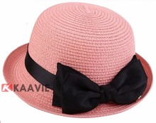 fashion girls roll up brim straw boater hat with bowknot band