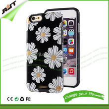 Hot selling tpu pc cell phone case for iphone 6 full protective printed flower pc tpu mobile phone case