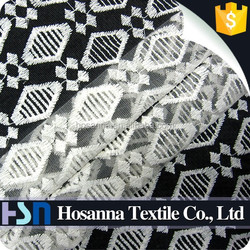 Diamond Shape Nylon/Cotton Mesh Embroidery Fabric