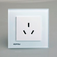 white color 16A electric socket,tempered glass frame, different colors and frames allowed to change