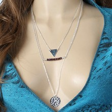 YIWU New Desingn Fashion Jewelry Multilayer Metal Geometric triangle Round Amethyst Pearl Necklace