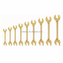 Nonsparking aluminum bronze quality forging double open end wrench 11 pcs,Explosion-proof D/E Fix Spanner