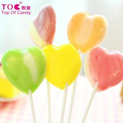 heart shaped long stick fruit pop lollipop