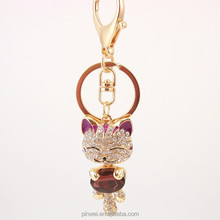 2015 Fashion Crystal Keychain Rhinestone Lucky Cat Key Chain SK2359
