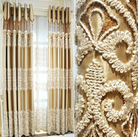 Finished pastoral style small jacquard flower short curtain / high-end bedroom balcony customization shade 100 polyester curtain