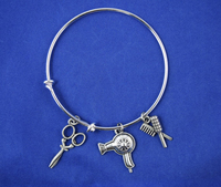 New design antique silver hairdresser bangle expandable wire bracelet