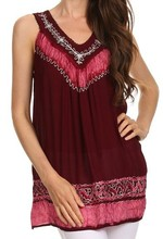 Custom design latest fashion women blouse tops tunic Embroidered Relaxed Fit cotton blouse