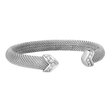One Size fit All People,CNC CZ Stones setting fashion 316L Stainless Steel Mesh Cuff Bracelet