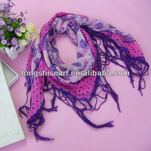 square scarf purple rose and dot printing