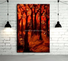 wholesale high quality abstract landscape red forest oil painting on canvas