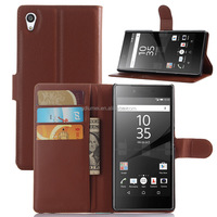 Premium leather wallet flip folio folding stand high quality PU leather case cover with card holders for Sony xperia Z5