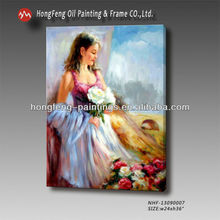 Beautiful classical Pino Daen woman on canvas oil painting for living room