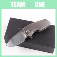 Hunter Folding Knife, D2 blade, Titanium Alloy handle, pocket clip