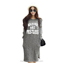 fashionable 100% cotton casual loose fit dress long sleeve round collar dress long style dress with letter printed