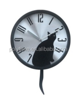 Home decor, Metal pendulum wall clock with animal for children's room