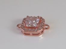 Medium Rose Gold Plated CZ findings, Clear White Square, Cushion Connector, Link, Brides, Wedding Jewelry (11x11MM)