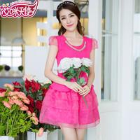 hot sale family matching clothing short sleeve ladies organza dress