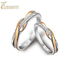 Fussem Pilotaxitic 925 women'sng wedding ring male rose gold lovers ring pinky ring silver jewelry