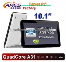 factory price 10 inch quad core tablet a31s allwinner android 4.2 2gb/16gb.1024*600