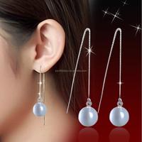 opal cat eye long dangle silver earring