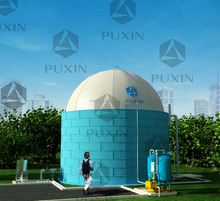 China Puxin biogas plant with PVC biogas storage tank on top for sale