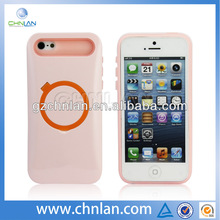 With holding ring pc silicone double layer mobile phone case cover for iphone 5s