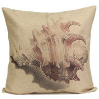Mediterranean Cotton Linen Pillow Cover Vintage Ocean Seaweed Conch Hippocampal Sofa Tatami Car Home Office Hotel Decor Square