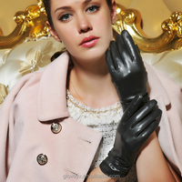 Basic ladies blk sheep skin leather gloves driving gloves touch screen gloves with leather strap