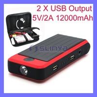Double 5V/2A USB Output 3 Watt LED Light Rubber Surface Car Jump Starter Power Bank