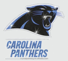 Carolina panthers glitter with Hot fix transfer Rhinestone motif