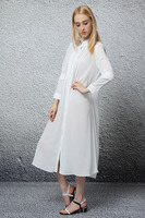 2015 fashion white long sleeve latest chiffon maxi shirt dress for women guangzhou dresses