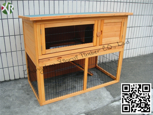 Two layer wooden rabbit kennels XR 010
