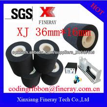 Tipo Fineray XJ marca 36mm * 16mm negro sólido rodillo de tinta seca de código de fecha
