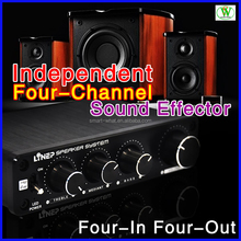 Four-In Four-Out Audio Sound Effector Independent 110dB SNR Four-channel Controller 3D HIFI Audio Pre Amplifier Car