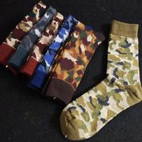 New camouflage printed army green socks cotton socks men outdoor sports skateboard street male medium tube sox