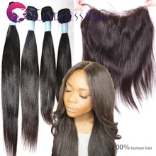 "factory wholesale raw brazilian hair extensions with lace frontal(13""x4"") one piece frontal lace 4pcs bundles full head weaves"