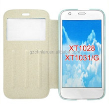 High quality stand flip case for moto g tpu gel leather case with open window