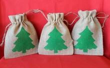 Rustic Christmas Tree burlap bag, Rustic Christmas Bag, Burlap Holiday favor bag, Christmas Tree Decor