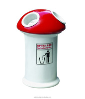 Red fancy fiberglass decorative outdoor garbage can stand
