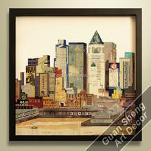 Guansheng CA009 city building 3d collage wall decor