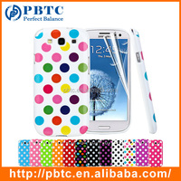 Set Screen Protector And Case For Samsung Galaxy S3 I9300 , Colorful Hard Gel Dot Case